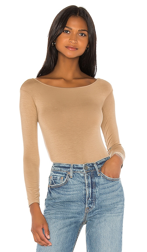 Long Sleeve Off Shoulder Bodysuit by Enza Costa