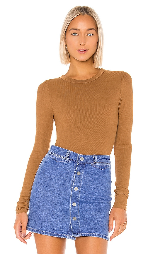 Rib Fitted Long Sleeve V Neck