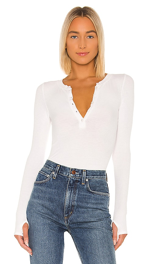 Silk Rib Long Sleeve Henley Top