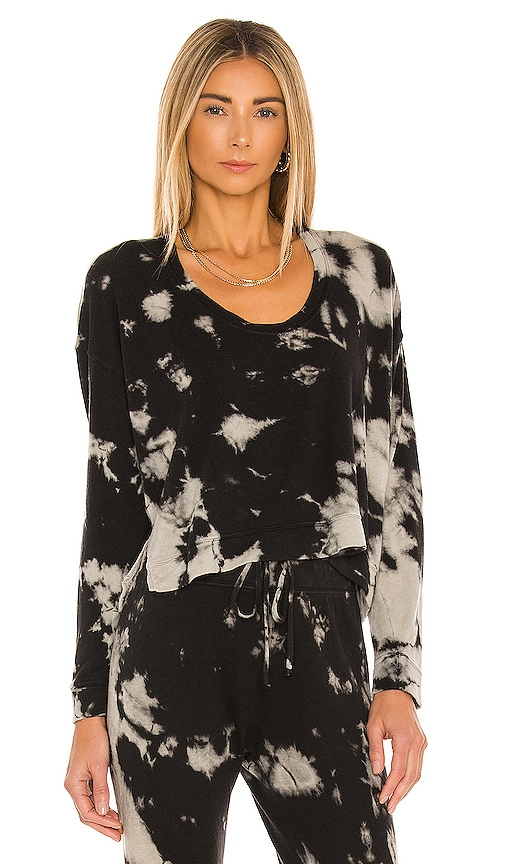 Enza Costa SILK CASHMERE TERRY CROPPED HORSESHOE NECK LONG SLEEVE TOP
