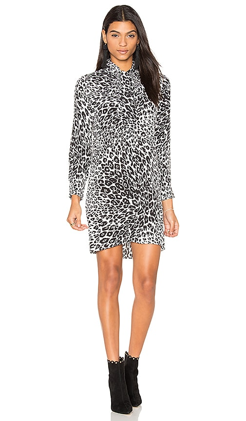 Equipment Leema Leopard Print Tie Neck Dress in Black & White