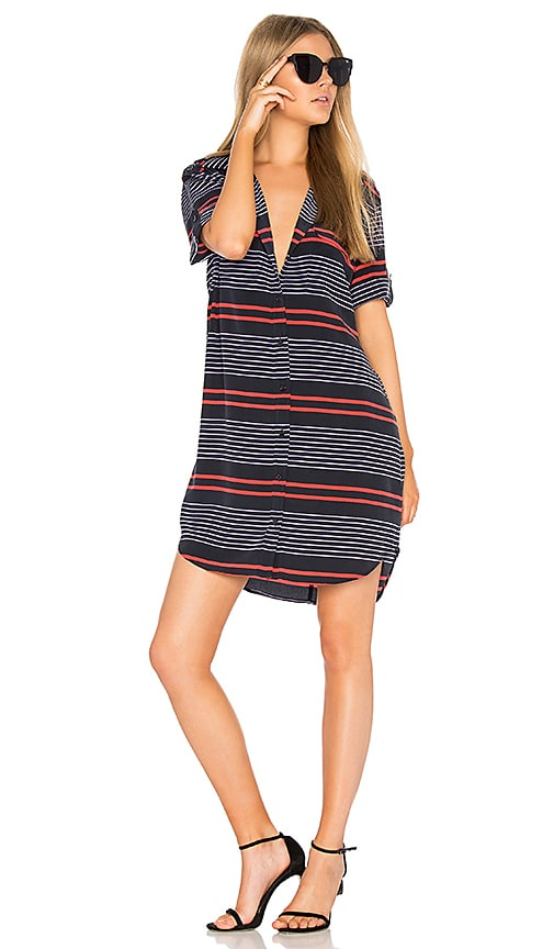 Equipment Striped Slim Signature Dress in Navy