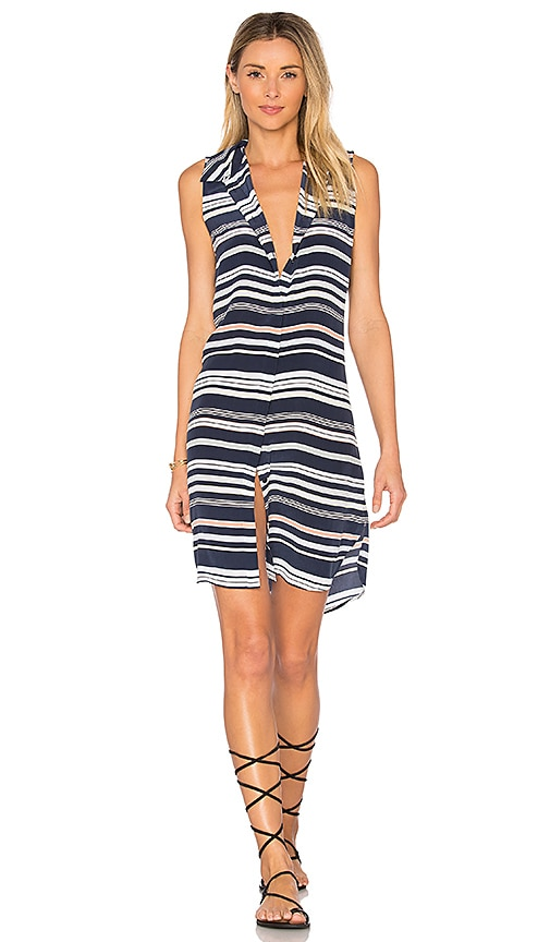 Equipment Janna Striped Dress in Navy