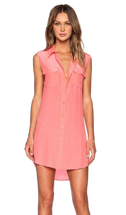 Equipment Sleeveless Slim Signature Dress in Pink