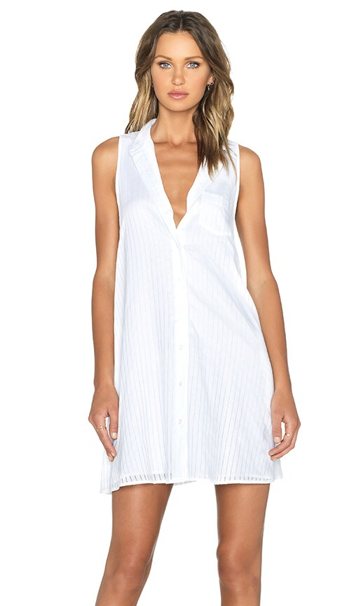 Equipment Mina Embroidery Stripe Dress in Bright White