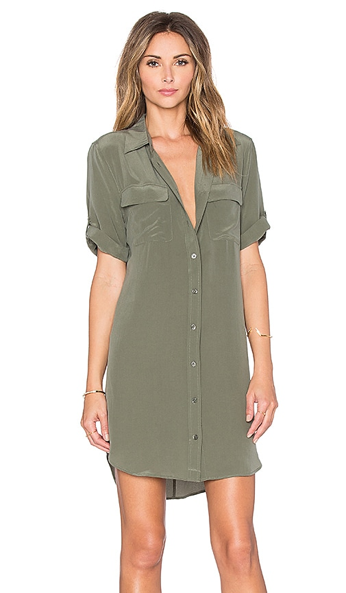 Equipment Short Sleeve Slim Signature Dress in Dusty Olive