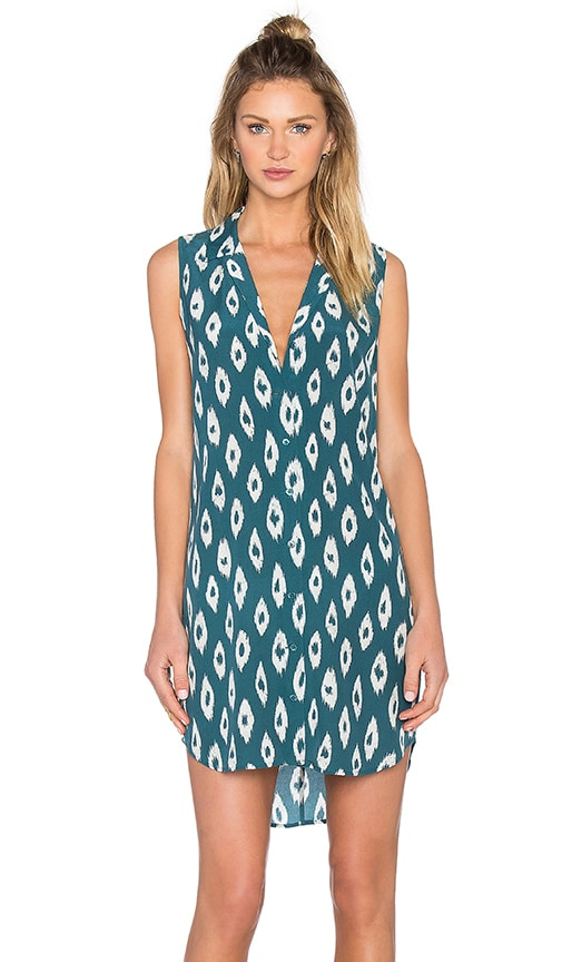 Equipment Sleeveless Adalyn Ikat Print Dress in Green