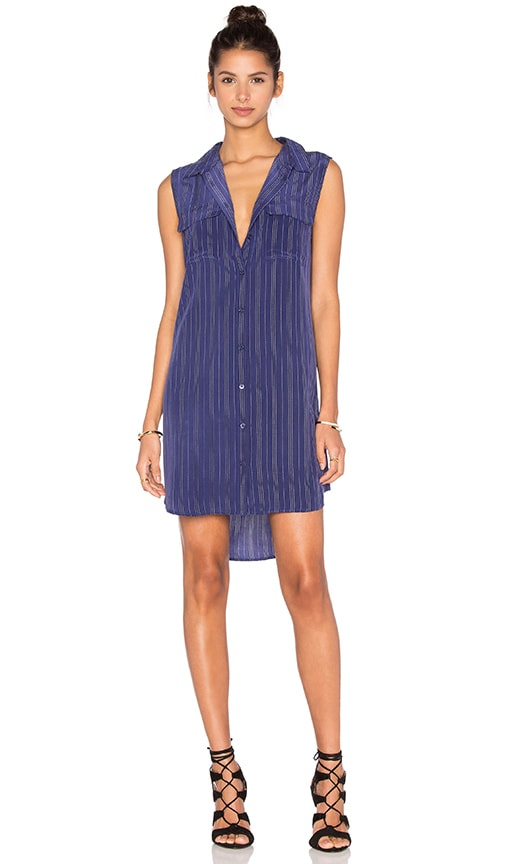 Equipment Sleeveless Slim Signature Stripe Dress in Blue