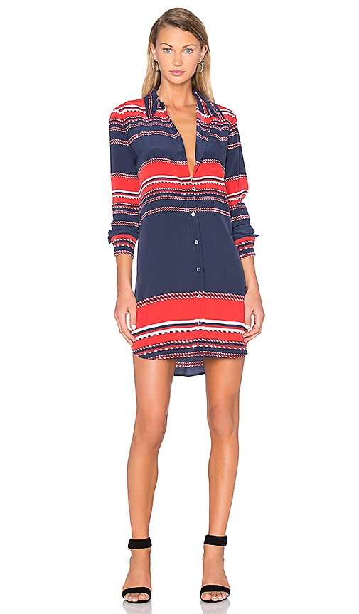 Equipment Brett Long Sleeve Dress in Navy