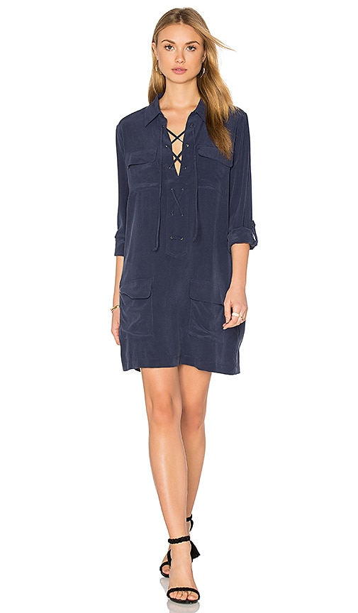 Equipment Knox Long Sleeve Button Up Dress in Navy