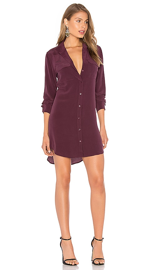 Equipment Slim Signature Silk Dress in Burgundy