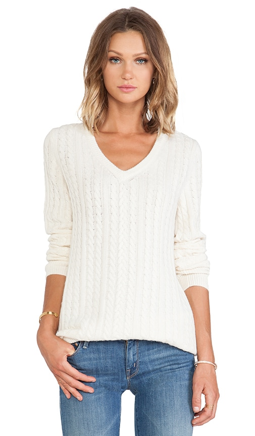 Whitney Cable Knit V Neck Sweater