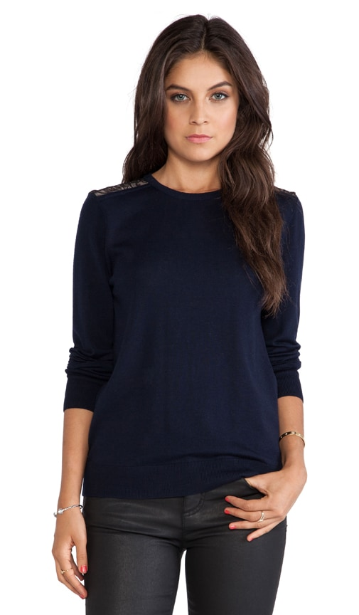 Equipment Pearl Lace Overlay Sweater in Navy