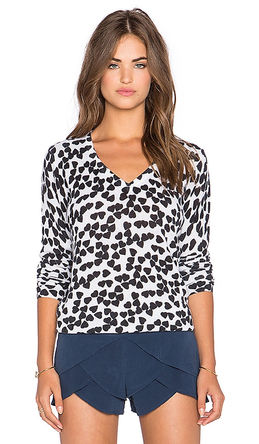 Equipment Cecile Endless Heart Print V-Neck Sweater in Ivory & Black