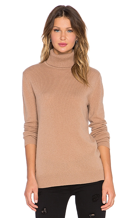Equipment Oscar Turtleneck Cashmere Sweater in Tan