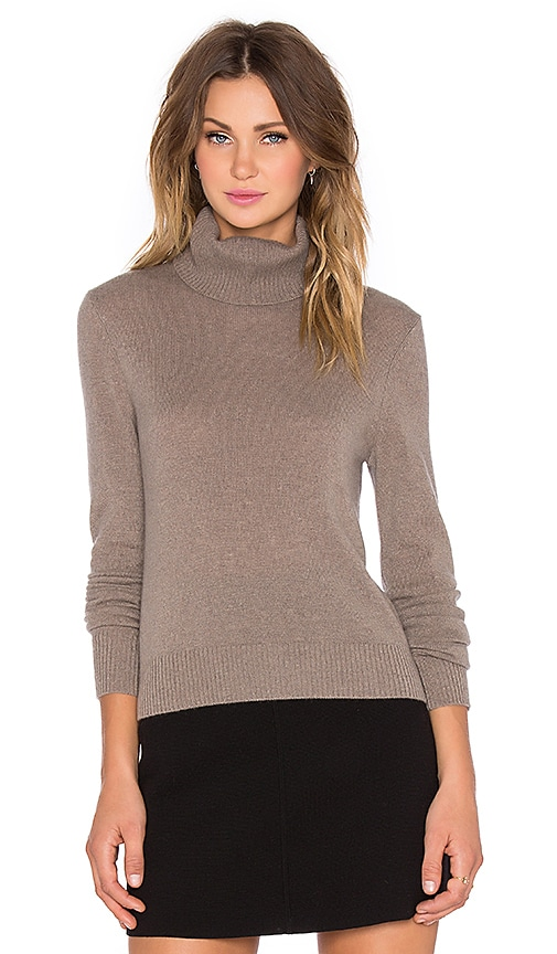 Equipment Atticus Cashmere Classics Turtleneck Sweater in Heather Taupe