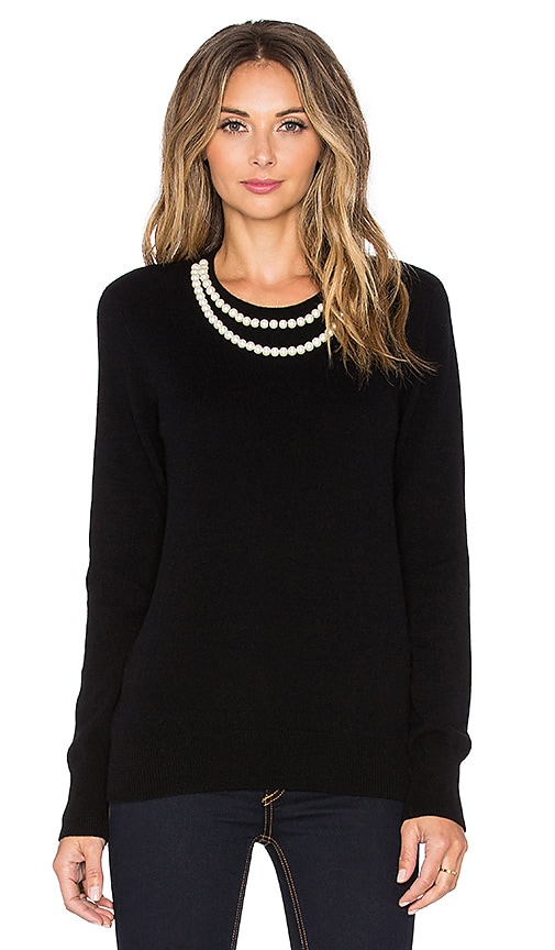 Equipment Shane Pearl Necklace Sweater in Black