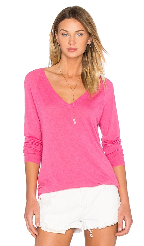 Equipment Asher V Neck Top in Pink