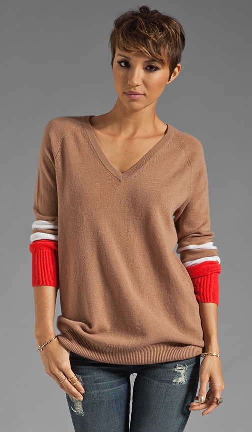 Asher V Neck Colorblock Sweater