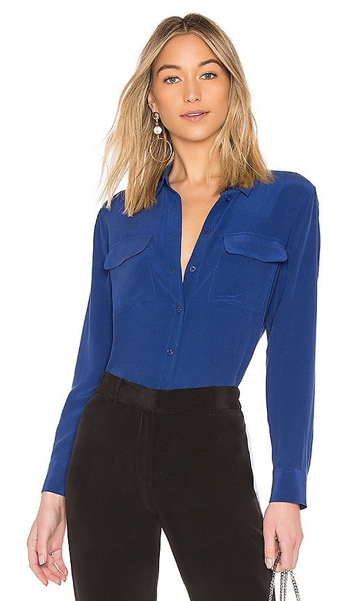 Equipment Slim Signature Top in Blue