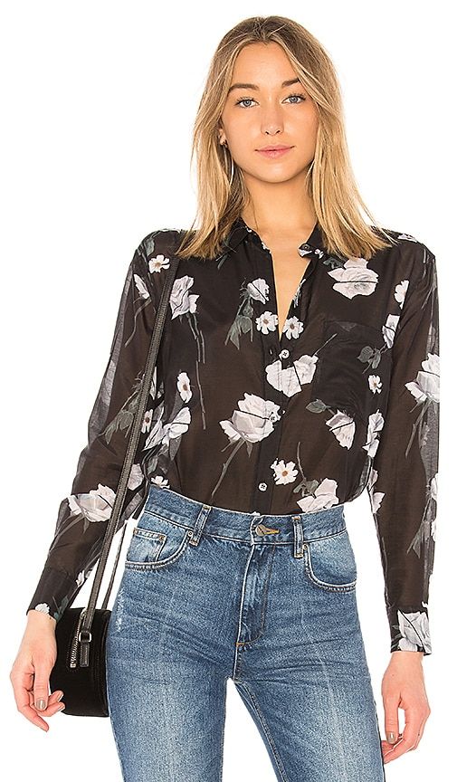 Equipment Daddy Floral Top in Black