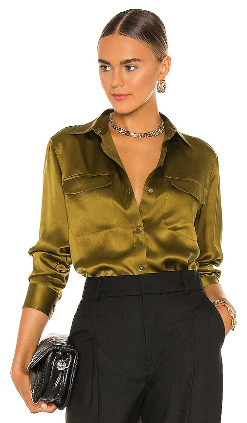 Women's 70s Shirts, Blouses, Hippie Tops Equipment Signature Top in Olive. - size XS also in M S $280.00 AT vintagedancer.com