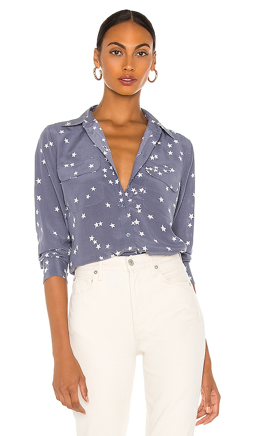 dbcb0d8474b29 Equipment Starry Night Slim Signature Blouse in Blue Stone