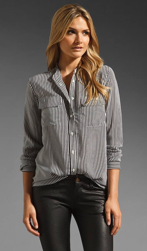 Collarless Slim Signature Daphne Stripe Blouse