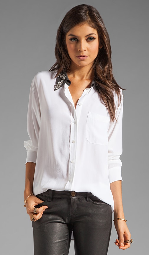 Daddy with Contrast Embellished Collar Blouse