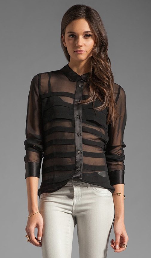 Pleated Sophie Chiffon with Satin Contrast Blouse