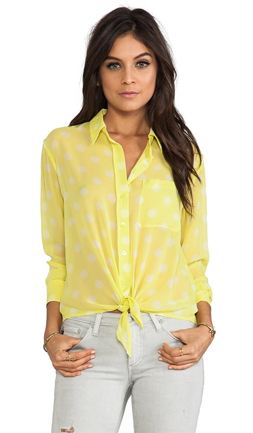 Spotted Summer Daddy Tie Front Blouse