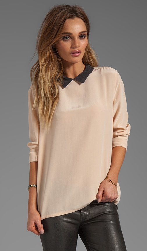Colorblock Grace Blouse with Contrast Collar