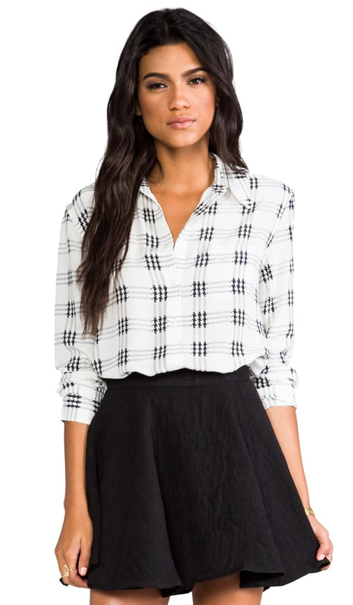 Reese Houndstooth Check Blouse
