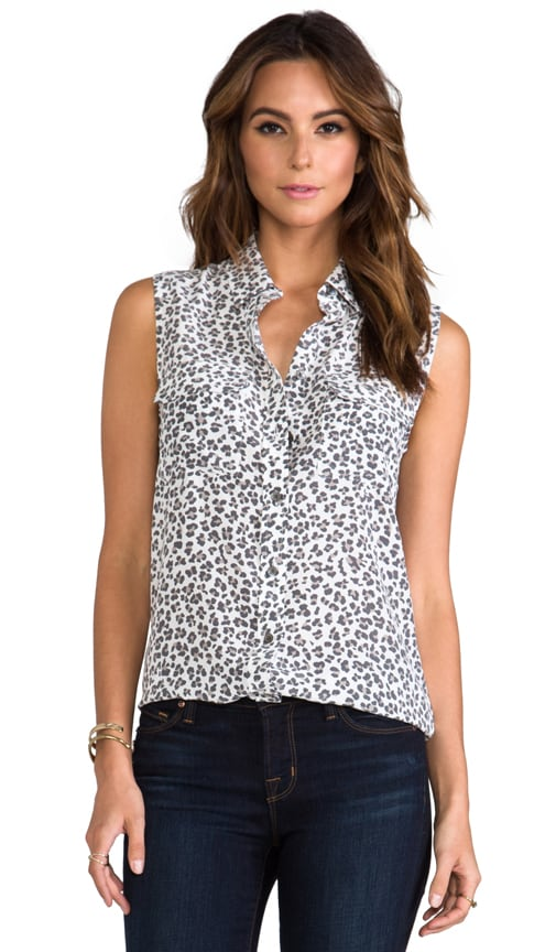 Sleeveless Slim Signature Kitten Leopard Blouse