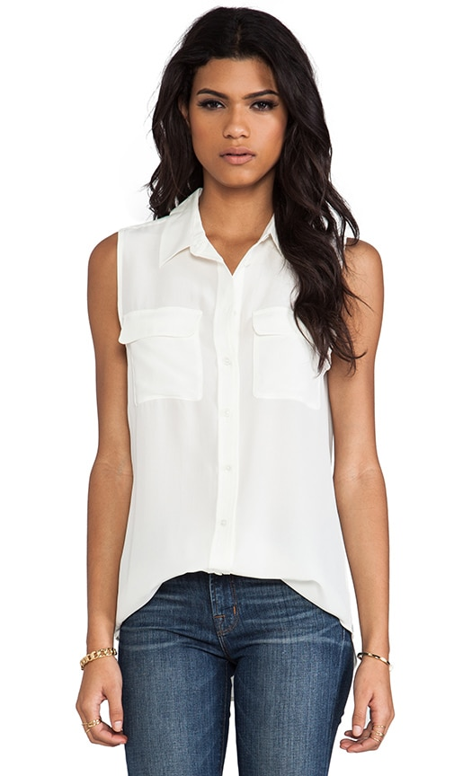 Equipment Sleeveless Slim Signature Blouse in Ivory