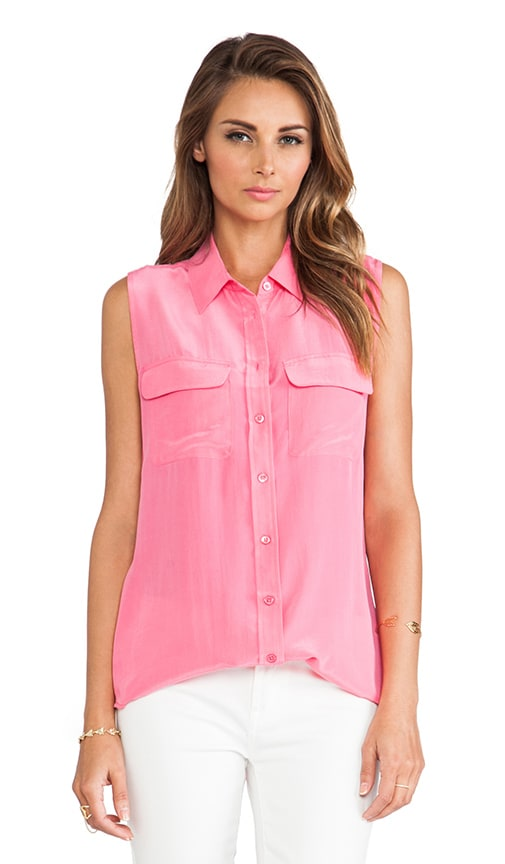 Equipment Sleeveless Slim Signature Blouse in Hot Pink