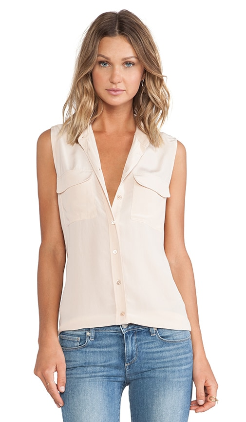 Equipment Sleeveless Slim Signature Blouse in Beige