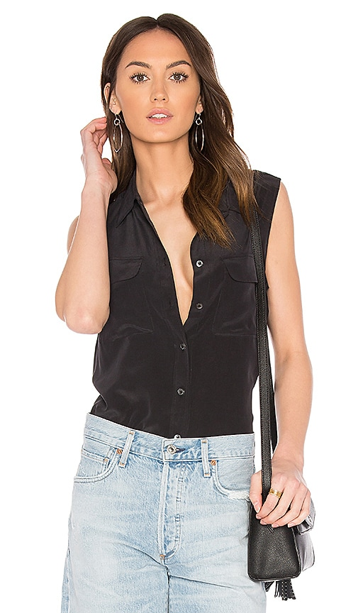 Equipment Sleeveless Slim Signature Blouse in Black