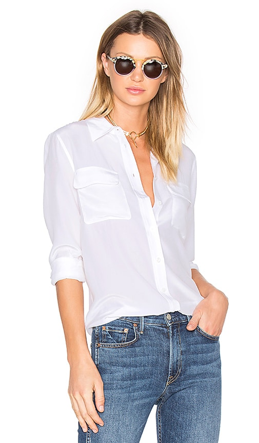 Equipment Slim Signature Blouse in White