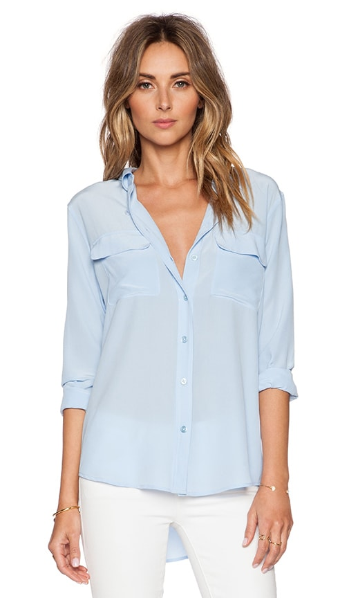 Equipment Slim Signature Blouse in Periwinkle Blue