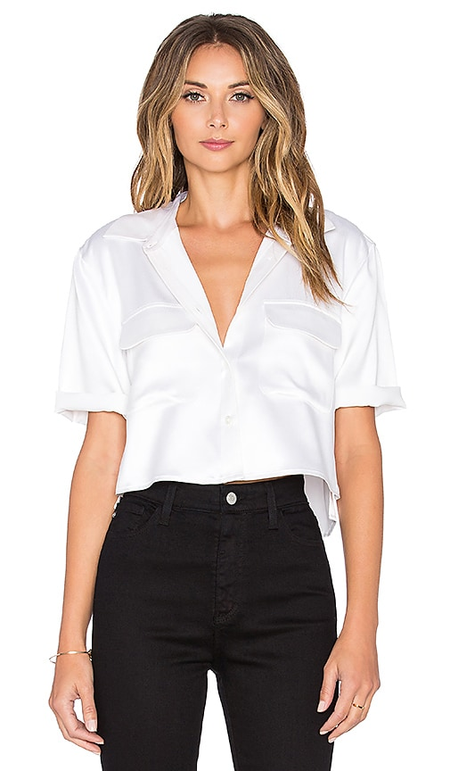 Short Sleeve Signature Silk Charmeuse Cropped Button Up