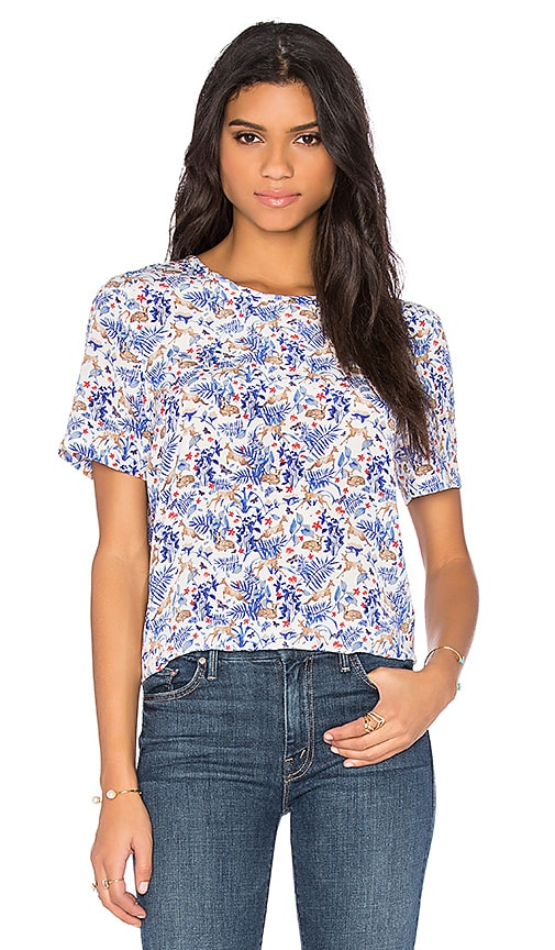 Equipment Riley Floral Print Tee in Nature White