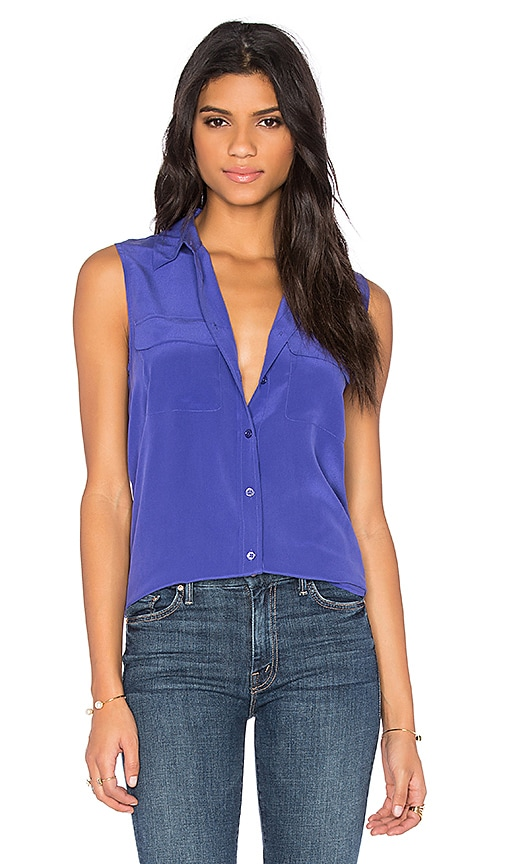 Equipment Sleeveless Slim Signature Blouse in Biro Blue