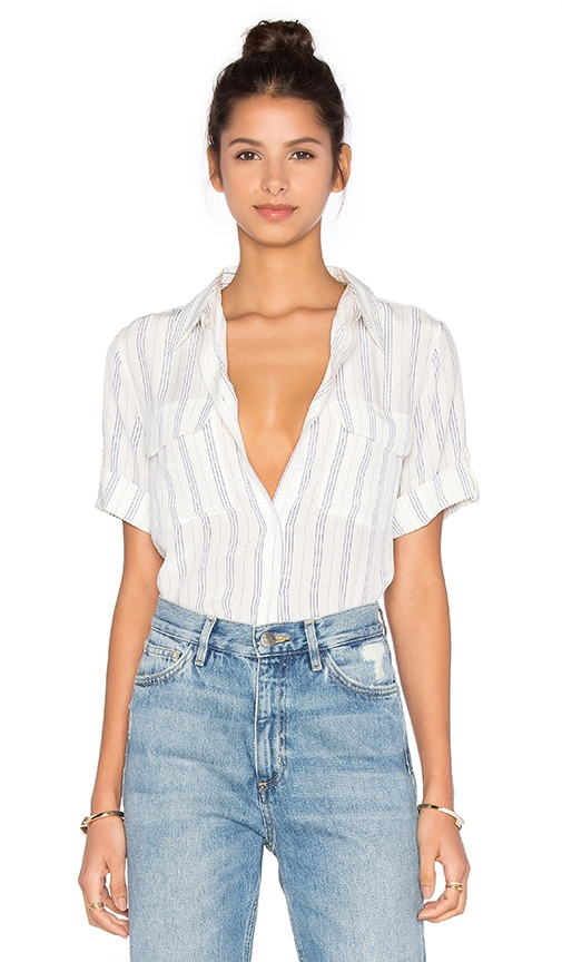 Equipment Short Sleeve Slim Signature Stripe Blouse in White