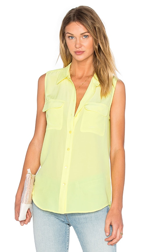 Equipment Sleeveless Slim Signature Tank in Yellow