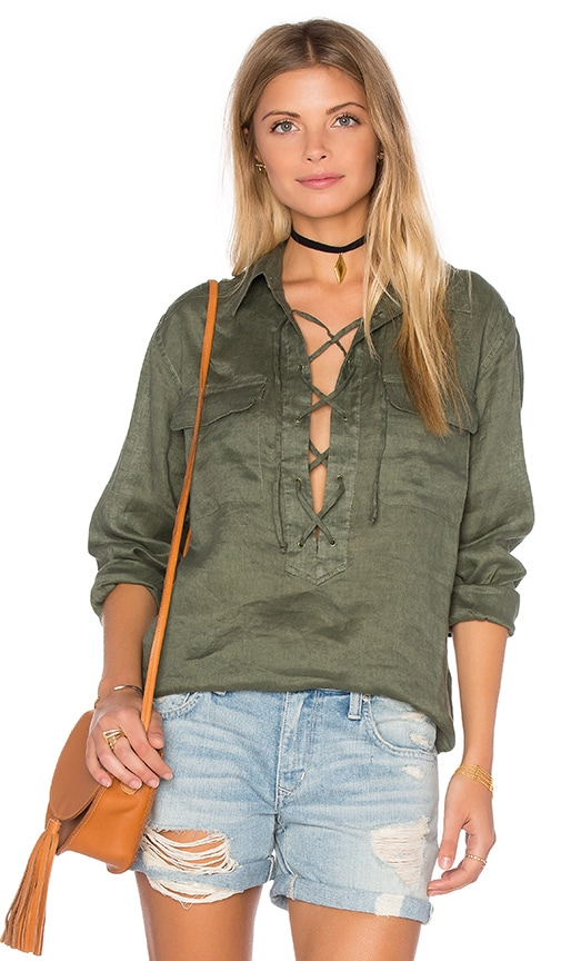 Equipment Knox Long Sleeve Blouse in Green