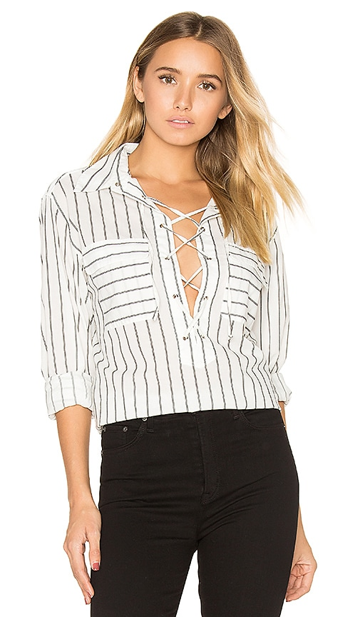 Equipment Knox Lace Up Blouse in Black & White