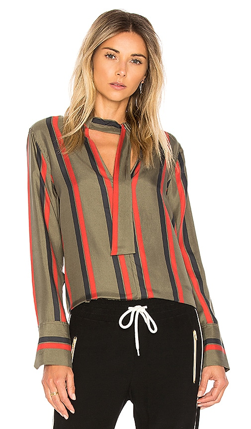 Equipment Janelle Stripe Blouse in Dark Green