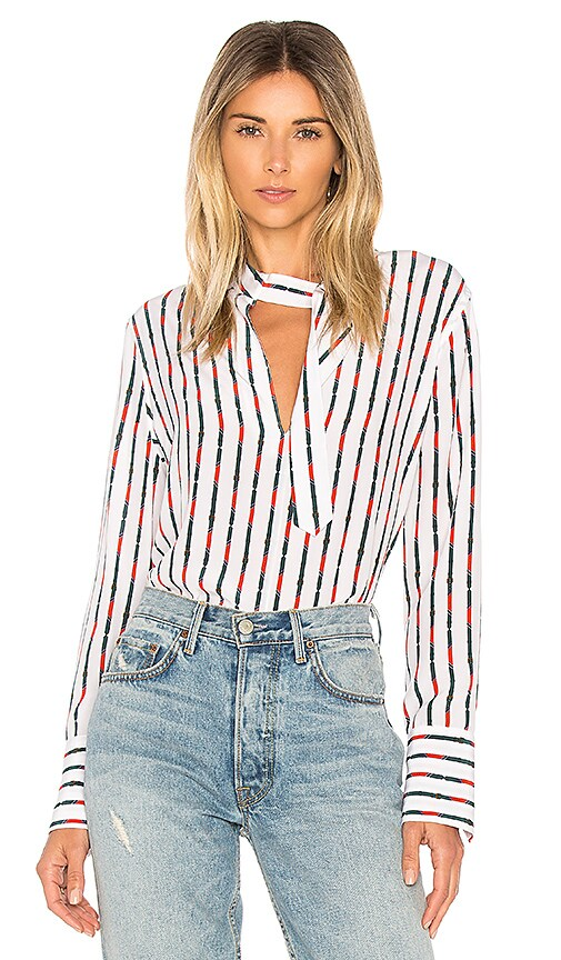 Equipment Janelle Stripe Blouse in White