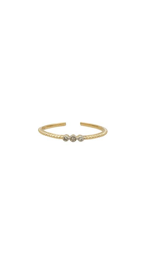 ERTH Triple Diamond Ring in Metallic Gold